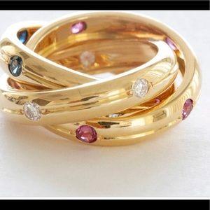 Cartier trinity yellow ring Dia/Sap/rub